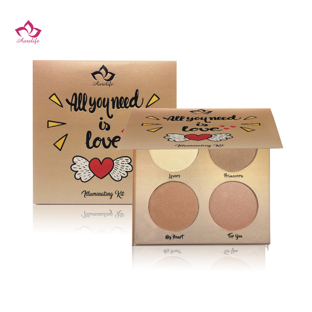 Aurelife Brand Makeup Golden Contour Glow kit Brightening Bronzer and Highlighter Face powder Makeup Eyeshadow Pallete in Bronzers Highlighters from Beauty Health