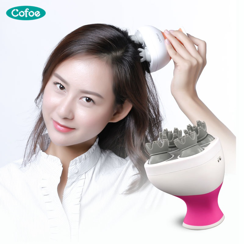 Cofoe Electric Scalp Head Massager Scalp Stress Relax Tool 4 Silica Gel Touching Points Also For Waist Arm Neck MassagerCofoe Electric Scalp Head Massager Scalp Stress Relax Tool 4 Silica Gel Touching Points Also For Waist Arm Neck Massager