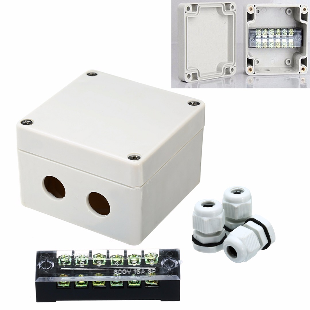 1pc Mayitr Waterproof Junction Box Dustproof ABS Distribution Box Housing DIY Electric Enclosure Case 6 Ports for Electronics white abs plastic waterproof dust proof junction box 36mm open hole diy electrical connection outdoor monitor distribution box
