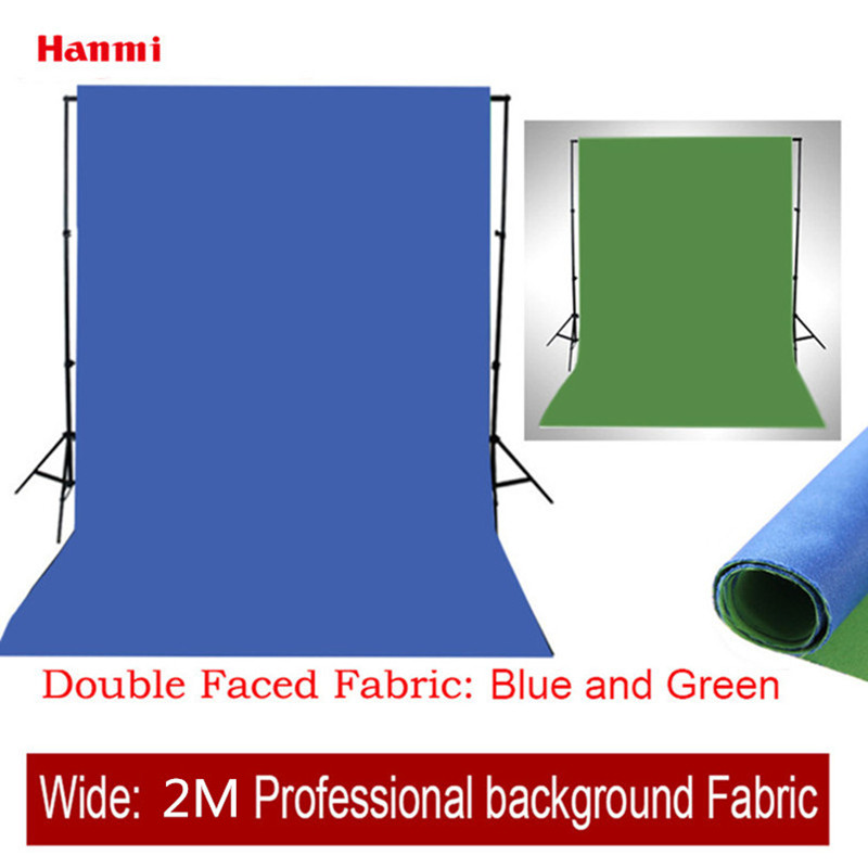 Hanmi Double Faced Fabric Width 2M Photography Photo Studio Cotton Chromakey Blue Green Screen Muslin Background Cloth Backdrops