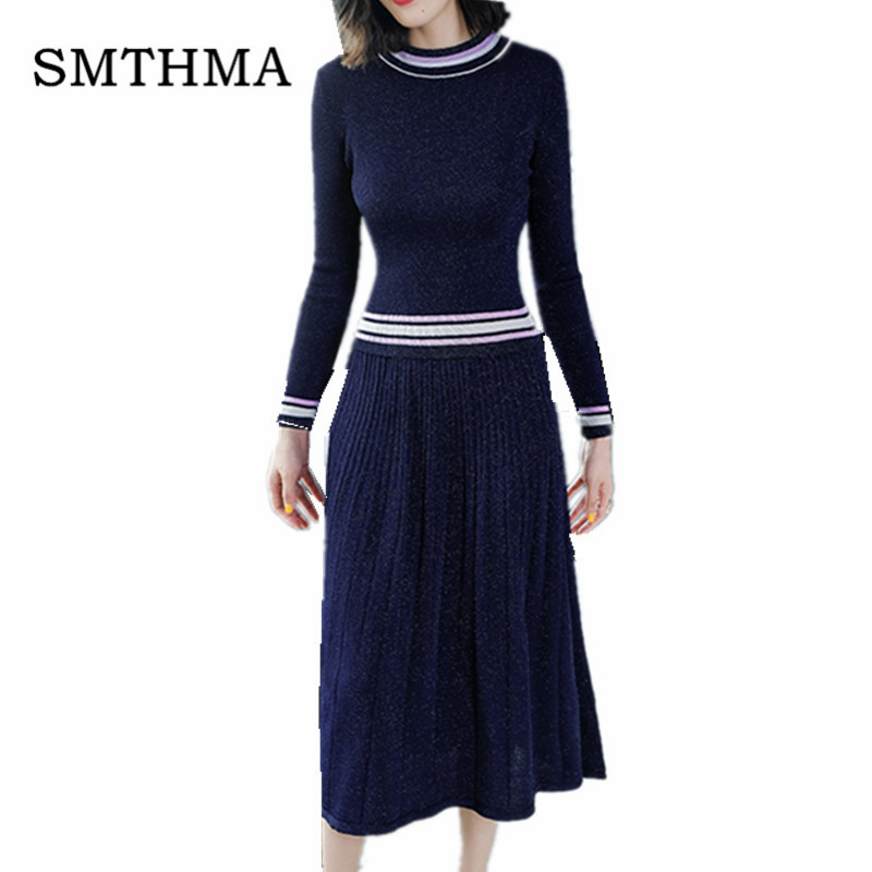 SMTHMA HIGH QUALITY New 2019 Fashion Designer Runway Suit Set Women's Knitting Long sleeve Sweater+ two piece Pleated Skirt Set