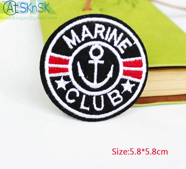 Beautiful patch 100pcs /lot DIY badge Patches Patch MARINE CLUB design Logo Kids clothes women motif applique ironing cloth embr
