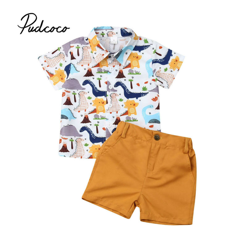 33b6db84b8fca 2Pcs Toddler Summer 2019 Kid Boys Clothes Cartoon Printed T-shirt Top+Solid  Shorts
