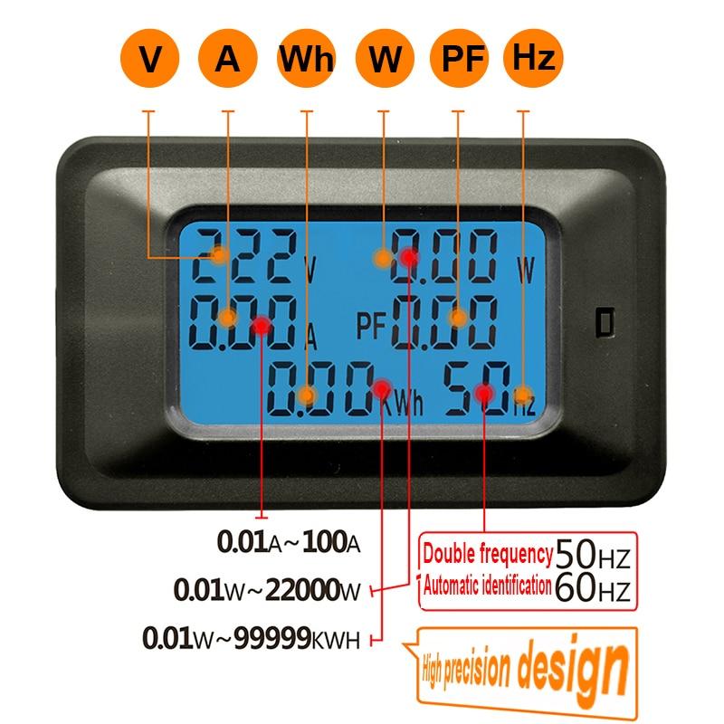 AC220V 20A Misuratore di tensione digitale Contatore di energia LCD - Strumenti di misura - Fotografia 2