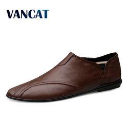 Sapatos masculinos de couro genuíno confortável sapatos casuais calçados chaussures apartamentos para homem deslizamento em sapatos preguiçosos zapatos hombre