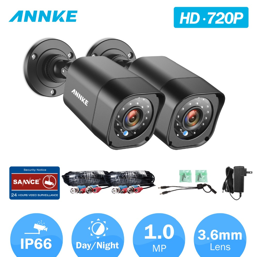 ANNKE 2pieces HD 720P Analog Camera Weatherproof PAL NTSC Indoor Outdoor IP66 3 6mm Bullet Camera