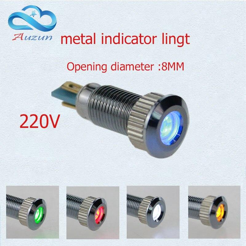 10 StÜcke Metall Indicator Light 8mm Metall Lampe Spannung 220 V Warnung Fahrzeug Lampe Rot Grün Gelb Blau Und Weiß
