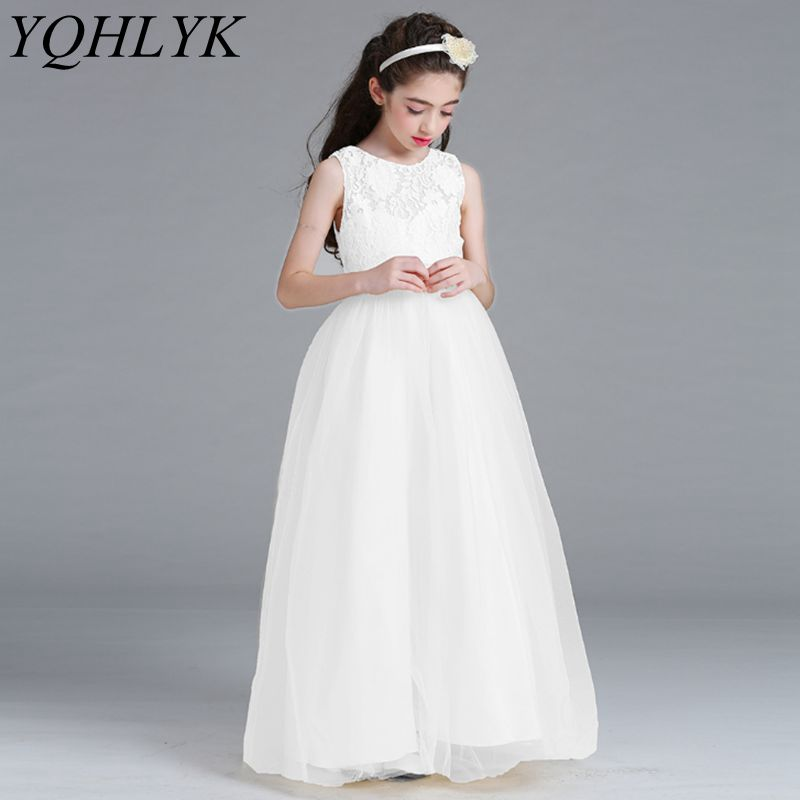 New Fashion Spring Summer Girls Dress 2018 Korean Children Lace Ball Princess Vest Long Dress Elegant Generous Kids Clothes W169 ball gown dresses princess vest lace dress 2017 summer new children lovely clothes girls strap voile dress embroidery and bead
