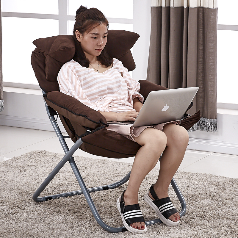 Lazy Chair Folding Single Computer Chair Back Chair Dormitory Bedroom Living Room College Dormitory Reinforced Cloth Removable image