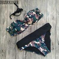Camouflage Bikini High Waist Swimsuit High Neck Swimwear Camo Bandage Cross Bathing Suit Women Army Green