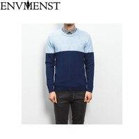 Env Для мужчин st осень-зима Для мужчин свитера 3 цвета лоскутное трикотажный пуловер свитер человека о-образным вырезом тонкий трикотаж пулов...