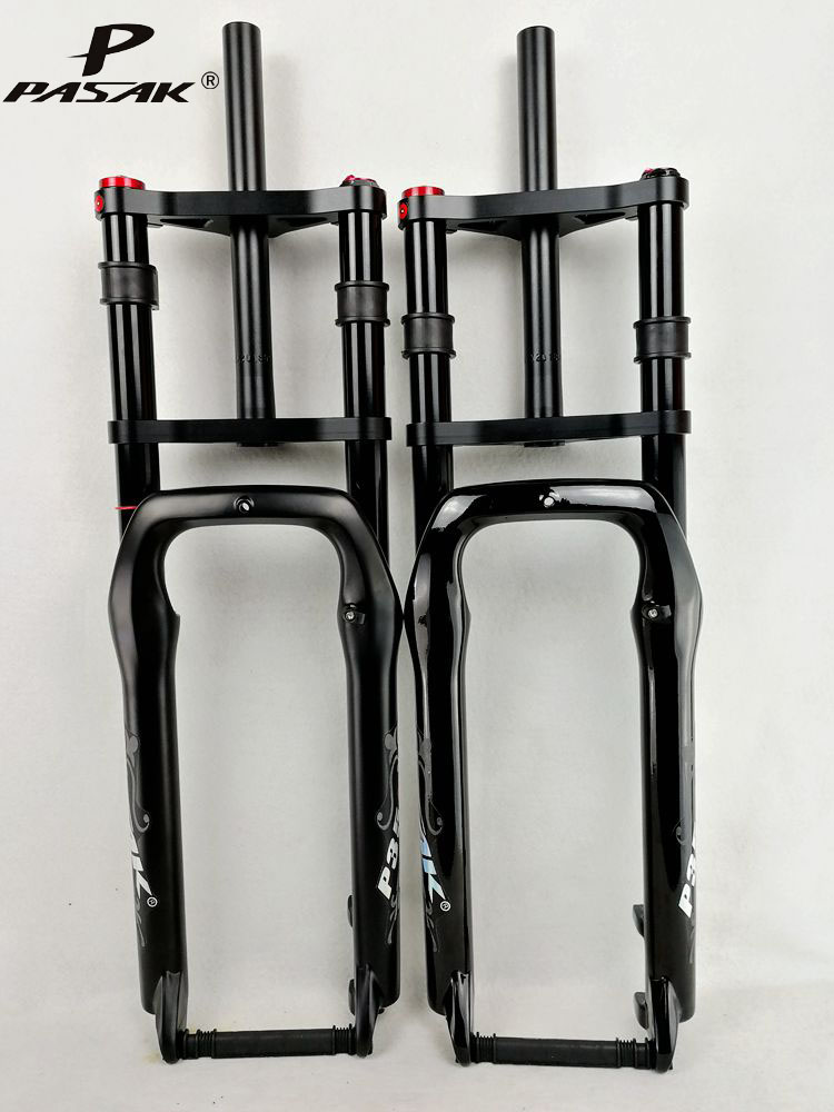 """Double Shoulder Fat Bike Suspension Fork Fat Bicycle 26"""" 4.0"""" Air Fork MTB Moutain 26inch Cruiser Fork 135mm Magnesium Alloy"""