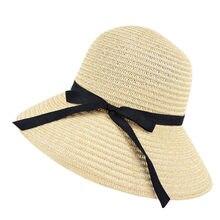 Donne Del Cappello di paglia A Tesa Larga Spiaggia di Estate di Sun Cappello  di Paglia Floppy elegante Boemia Cap Cappelli di Pa. ddae3a8a4c91