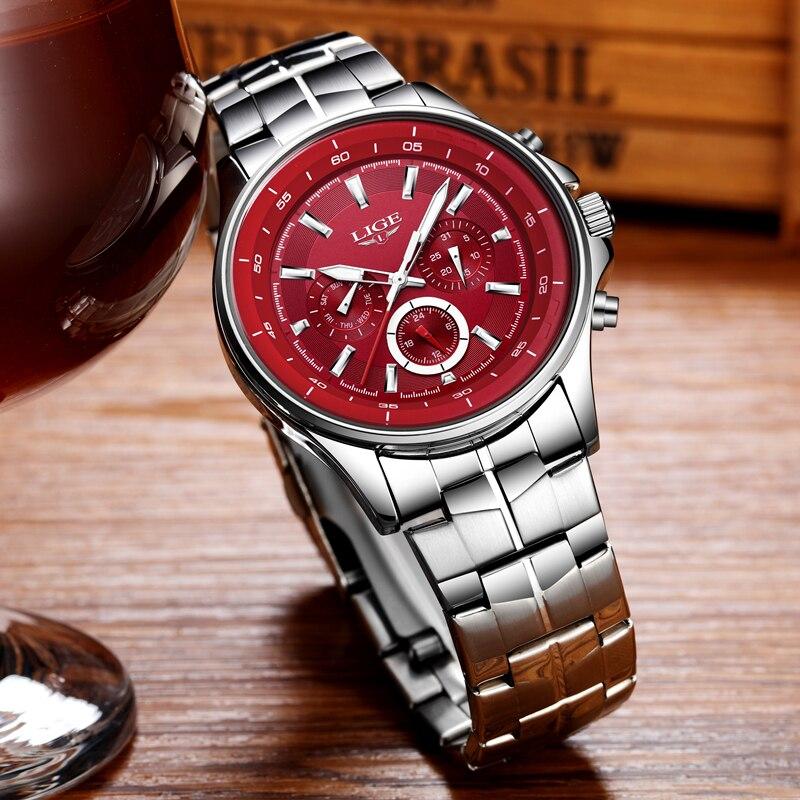 Mens Watches LIGE Top Brand Luxury Men 39 s Military Waterproof Sports Watch Men 39 s Multi function Quartz Clock Relogio Masculino in Quartz Watches from Watches