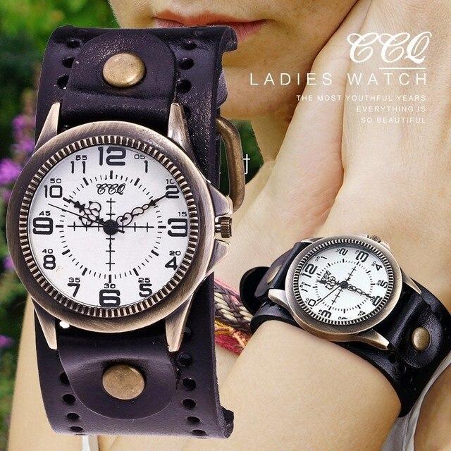 CCQ Brand Fashion Vintage Cow Leather Quartz Watch Women Men Bronze Sight Dial C