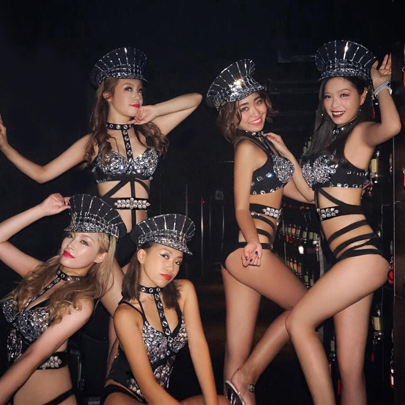 Sexy Nightclub Gogo Costume Women's Bar Lead Suit Set Rhinestone DJ Women's Singer Dancer Jumpsuit DS Performance Suit