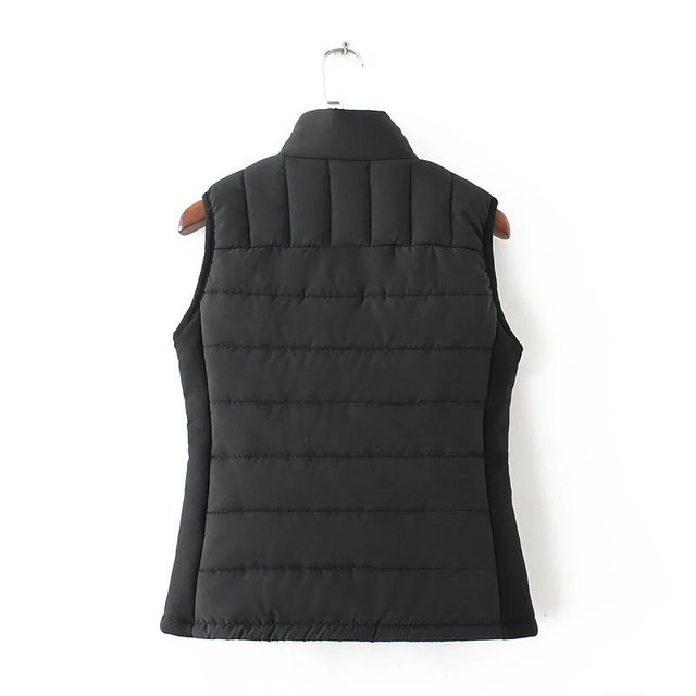 2106 fall and winter fashion wild stand-up collar double-pocket zipper women vest
