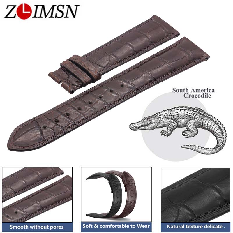 ZLIMSN Double Alligator Leather Strap Black Brown Watch Band Size 18mm 20mm 22mm for Mens Women