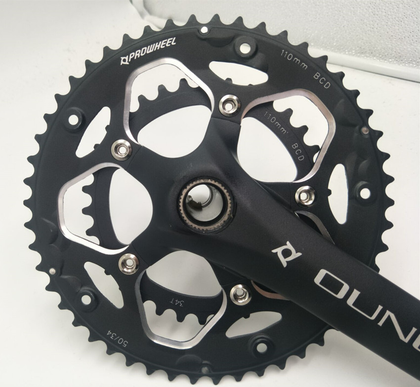Aluminum Alloy Bicycle Fixed Gear Crankset 170mm 110 BCD Mountain Bike CNC Hollow Crank Chainwheel 34-50T Bracket