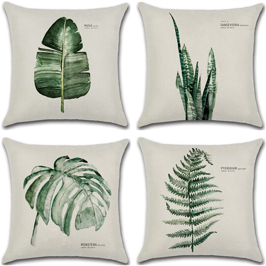 New Green Leaf Print Cushion Set 45*45cm Cushion Cover Linen Throw Pillow Car Home Decoration Decorative Pillowcase