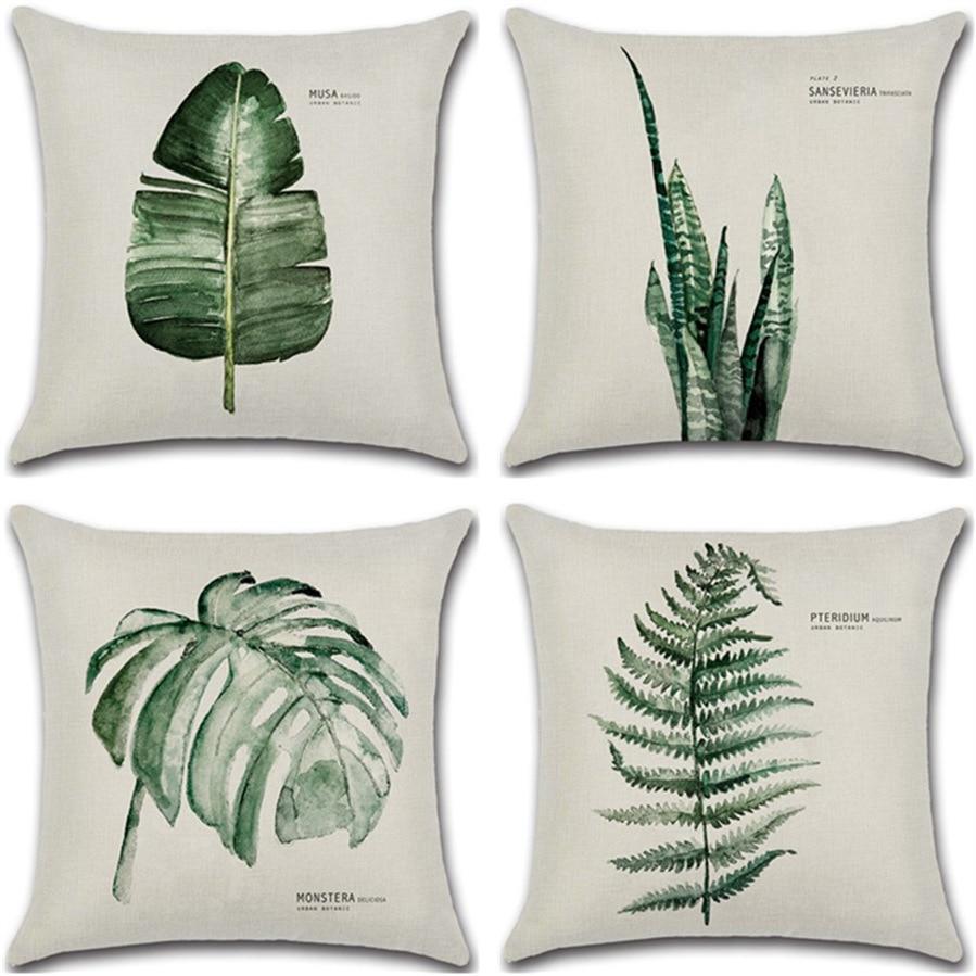 New Green Leaf Print Cushion Set 45*45cm Cushion Cover Linen Throw Pillow Car Home Decoration Decorative Pillowcase