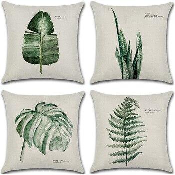 цена New Green Leaf Print Cushion Set 45*45cm Cushion Cover Linen Throw Pillow Car Home Decoration Decorative Pillowcase онлайн в 2017 году