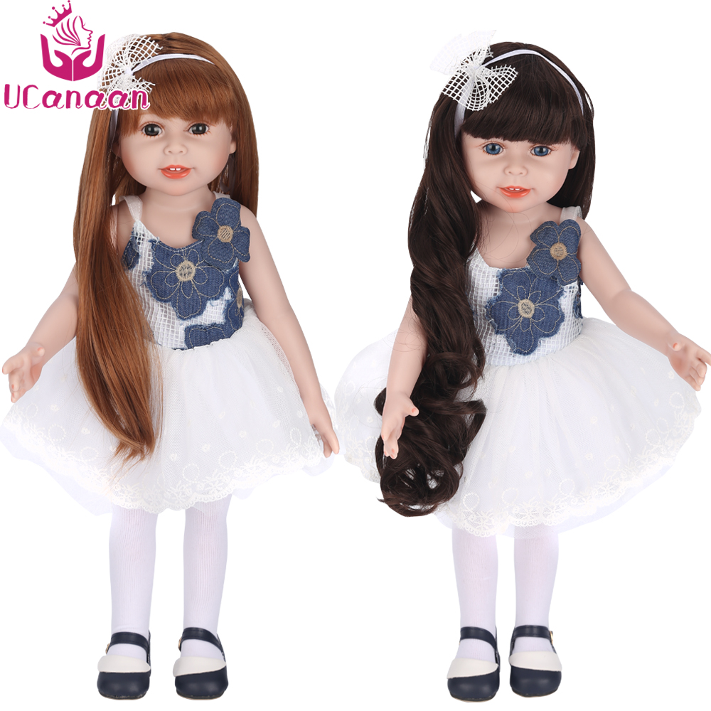 UCanaan 18'' 45CM American Sweet Girl Doll Reborn Baby Dolls Full Handmade Full Vinyl Baby Toys Best Girls Gift DIY Bjd Doll realistic doll 18 inches cute doll handmade full vinyl american girl doll reborn baby kids gift for girl