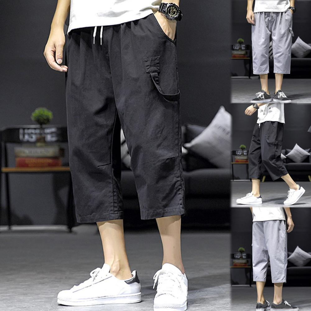 Men's Casual Fashion Loose Pure Color Pocket Comfort Sport Calf-Length Pants Trousers Casual Male Solid Loose cargo pants Jogger