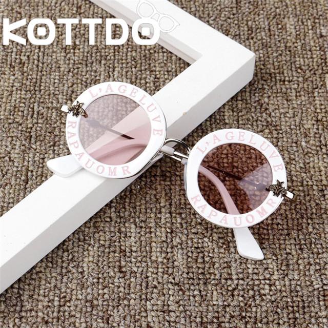 Steampunk Metal Bee Kids Sunglasses Boys Girls Luxury Vintage Children Sunglasses Round Sun Glasses Oculos Feminino Accessories
