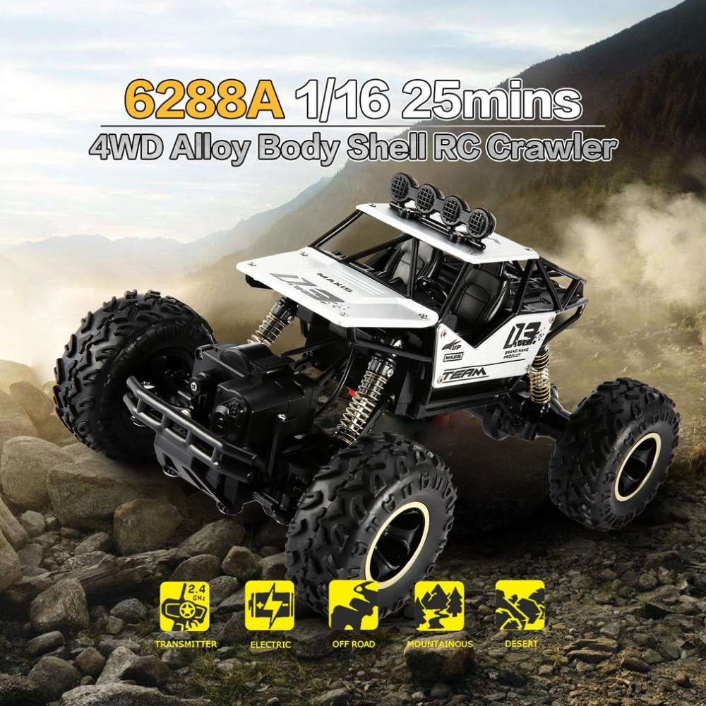 1/16 2.4GHz Alloy Body Shell Rock Crawler 4WD Double Motors Off-road Remote Control RC Buggy Bigfoot Climbing Car Vehicle Toys