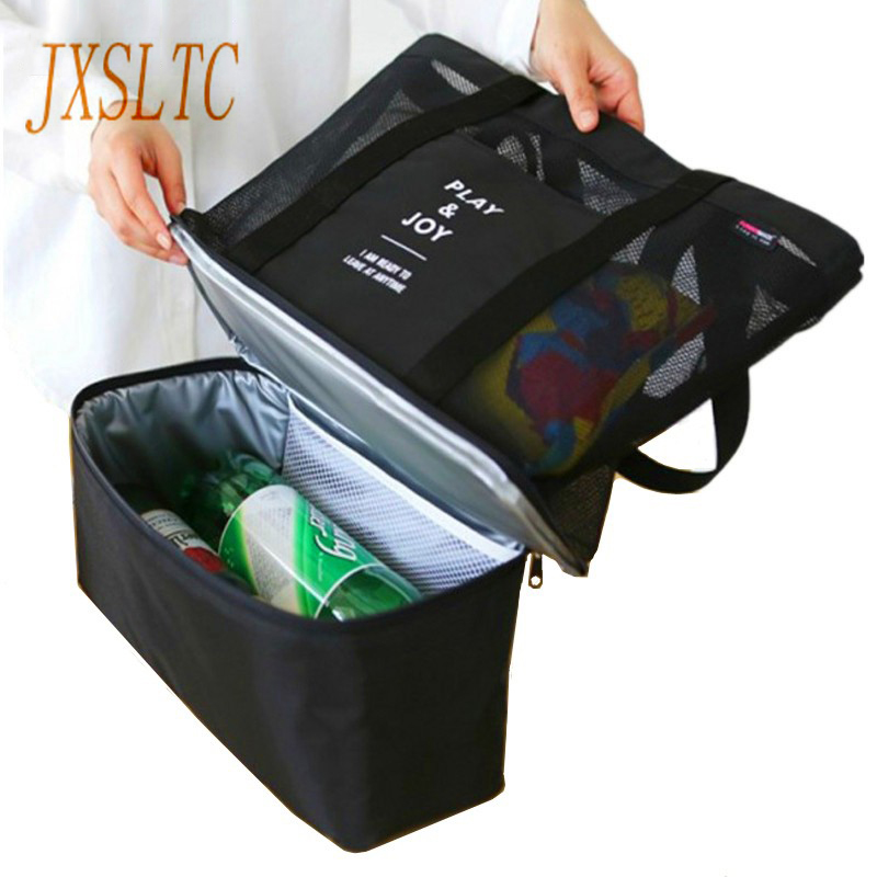 Thermal Insulation Cooler Bag 2 Layers Food Lunch Bag Trips BBQ Fresh Keeping Ice Pack Cooler storage Accessories Organizer Bags