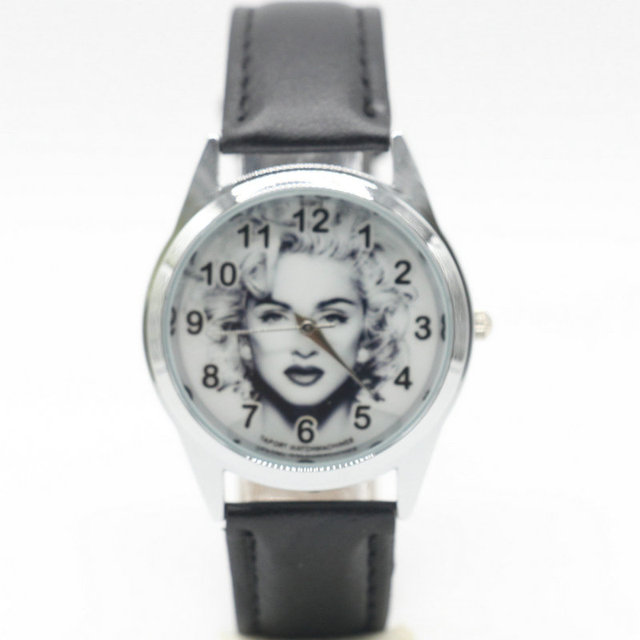 Madonna Louise Veronica Ciccone Leather Belt Students Watch Creative Gift Quartz