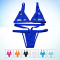 XS-XL Women's Sexy  Mesh Bikini Set Hollow Out Tops Bandage Swimsuit Strappy Swimwear Sexy Mini String Thong