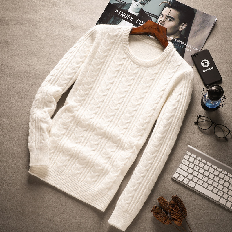 Men Thickening Sweater, Men's Casual Jacket, Round Neck, Fashionable Bottom, Sweater Tide Plus Size M--XXXL