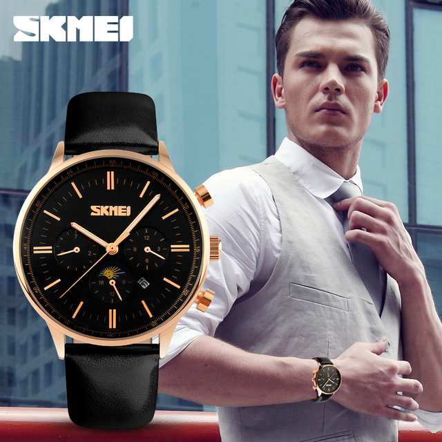 SKMEI Men's Quartz Watch Luxury Watches Relogio Masculino Fashion Casual Blue Genuine Leather Waterproof Mens Wristwatch Relojes