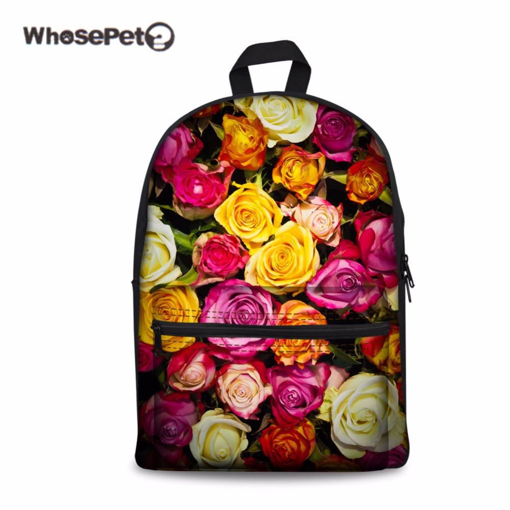 WHOSEPET Rose School Bag For Teenager Girls Women Travel Large Stylish Shoulder Schoolbags Trees New Retro Book Bags Satchel