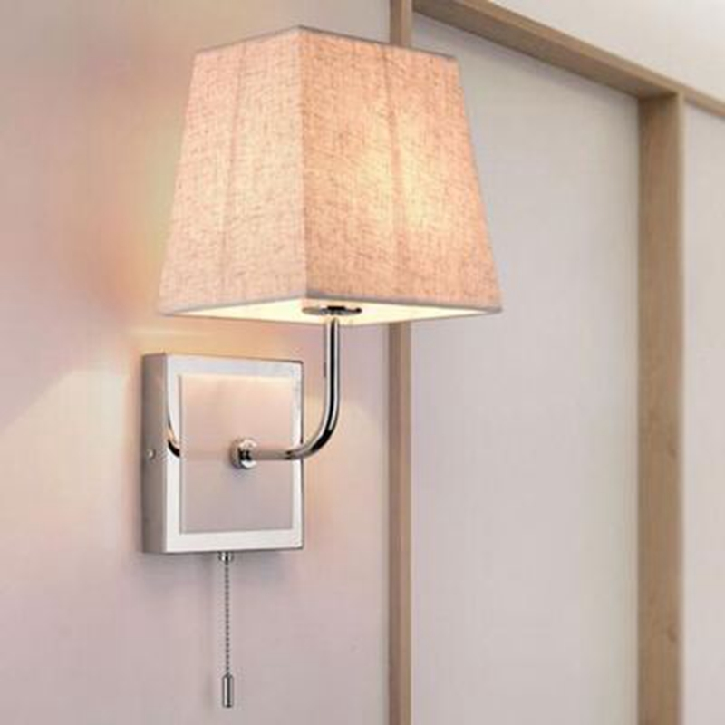 Simple Fabric Tall Wall Light: LukLoy Nordic Metal Fabric LED Wall Light Home Pull Switch