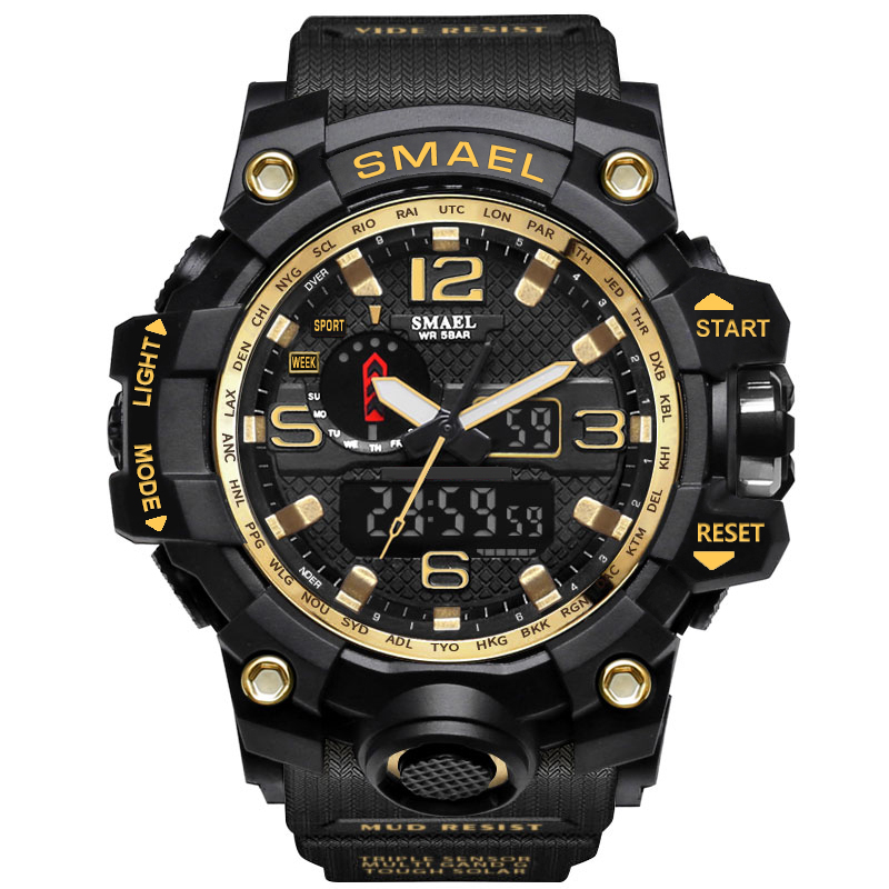 SMAEL Gold Bial Watches Top Brand Luxury Dual Display Mens Military Quartz Wristwatch Men Resistant font