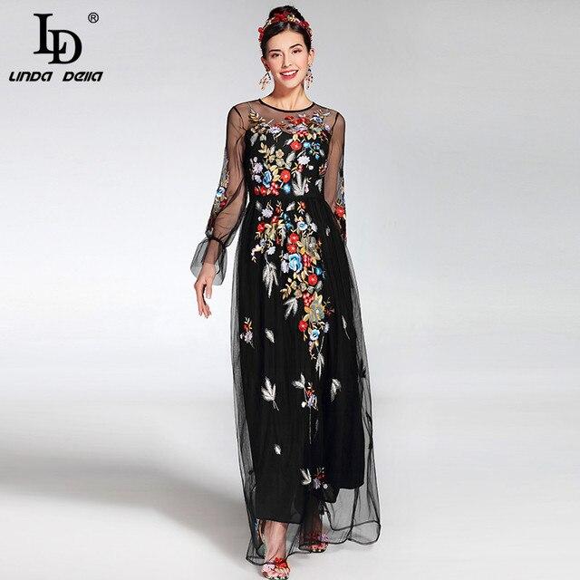 2017 Новые Моды Взлетно-Посадочной Полосы Maxi Dress женская элегантный Длинным Рукавом Тюль Марля Цветок Цветочной Вышивкой Черный Старинный Long Dress