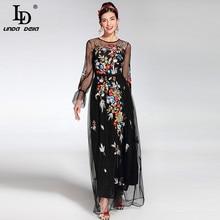 2017 Newest Fashion Runway Maxi Dress Womens elegant Long Sleeve Tulle Gauze Flower Floral Embroidery Black Vintage