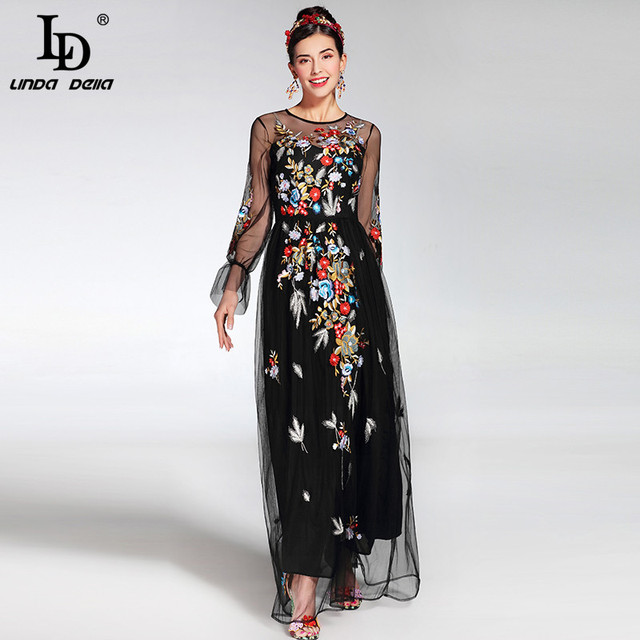 0dd6ce1263 2019 Fashion Runway Maxi Dress Women's elegant Long Sleeve Tulle Gauze Flower  Floral Embroidery Black Vintage Long Dress
