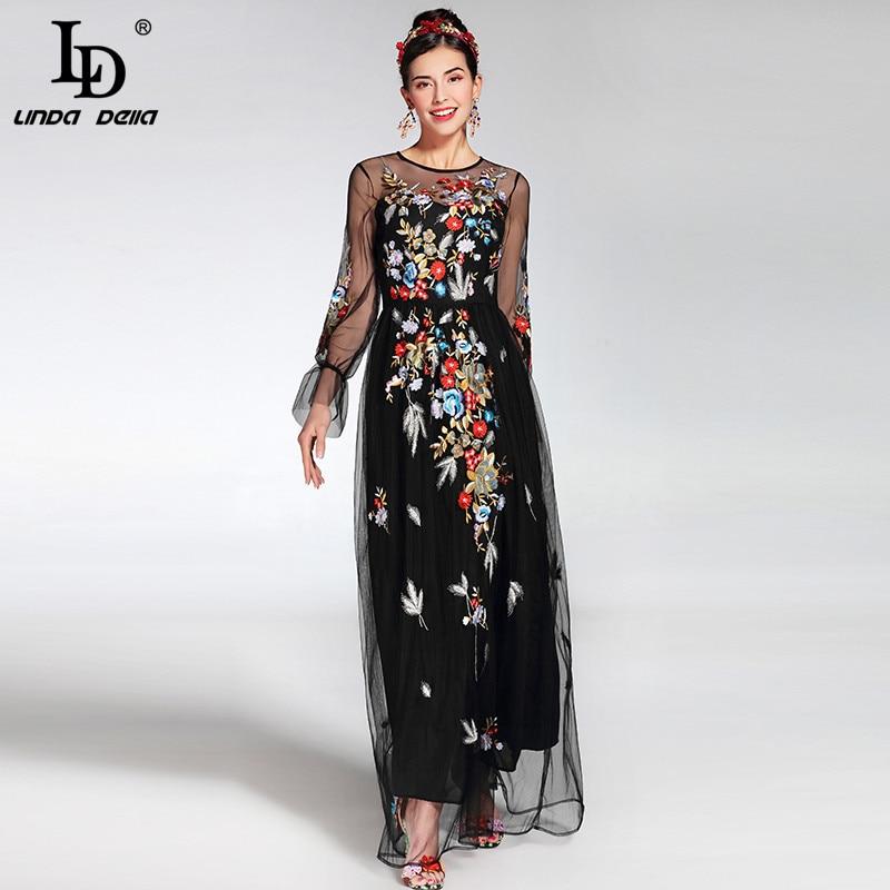 Kadın Giyim'ten Elbiseler'de 2019 Moda Pist Maxi Elbise kadın zarif Uzun Kollu Tül Tül Çiçek Çiçek Nakış Siyah Vintage uzun elbise'da  Grup 1