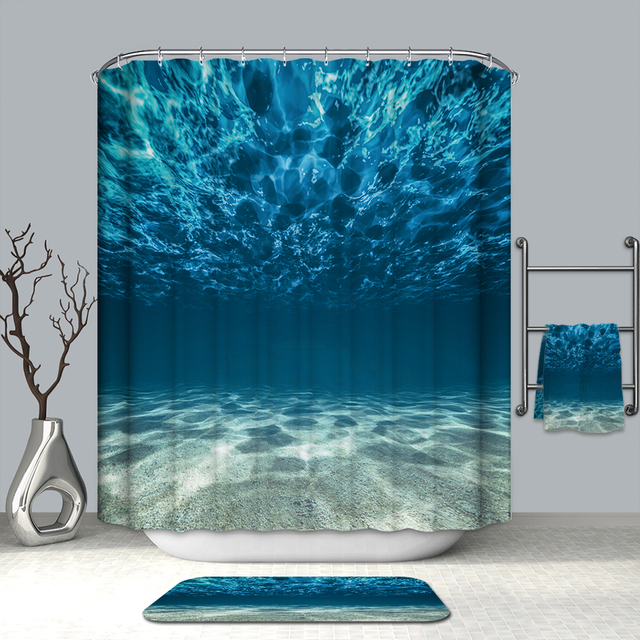 3D Deep Blue Sea View Shower Curtains the Sea in Sunshine Waterproof Mildew Proof Thickened Bath Curtains for Bathroom