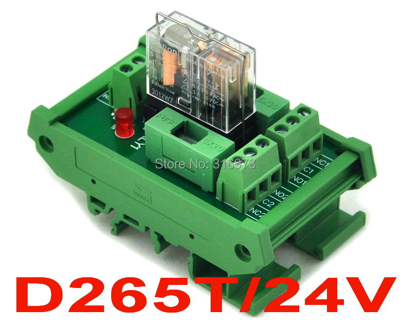 DIN Rail Mount Fused DPDT 5A Power Relay Interface Module, G2R-2 24V DC Relay.