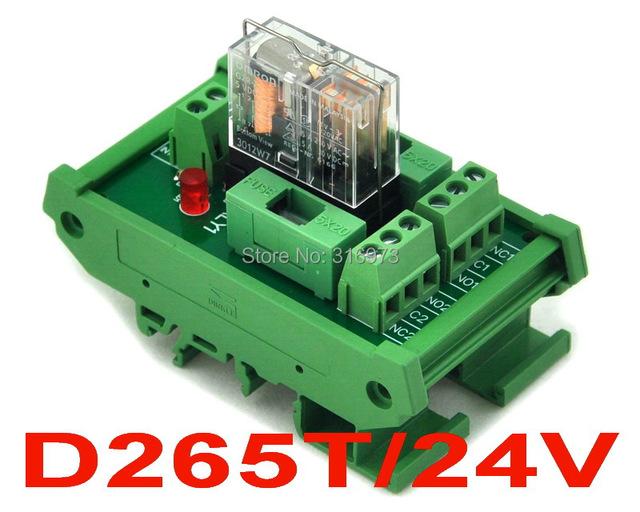 Montaje En Carril DIN Fundido Power Relay DPDT 5A Módulo de Interfaz, G2R-2 Relé de 24 V DC.