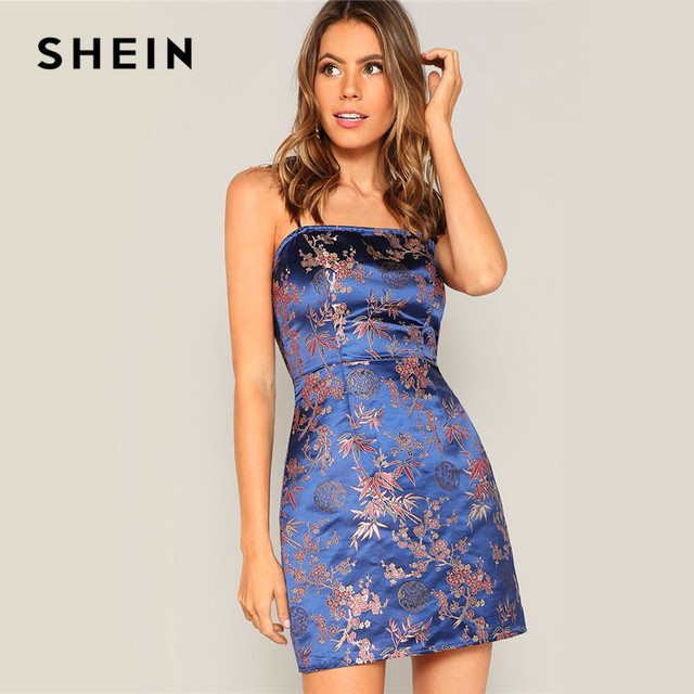 SHEIN Navy Silky Floral Jacquard Spaghetti Strap Slim Fit Cami Dress Women Summer Sexy Night Out Bodycon Party Dresses