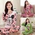 Women Clothes Set Pregnant Pajamas Set Sleepwear Nightgown Home Soft Cotton Long Sleeve Tops&Pants Maternity Pajamas Mickey