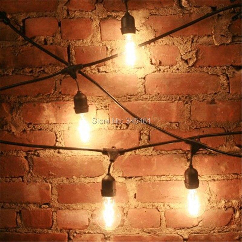 Outdoor vintage string lights outdoor lighting ideas lights 48ft 14 8m outdoor vintage string light with 15 incandescent 5w e27 clear bulbs black plug aloadofball Images
