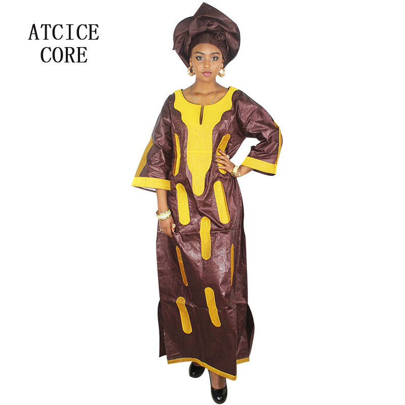 african dresses for women 2018 fashion AFRICAN fabric BAZIN RICHE embroidery design DRESS