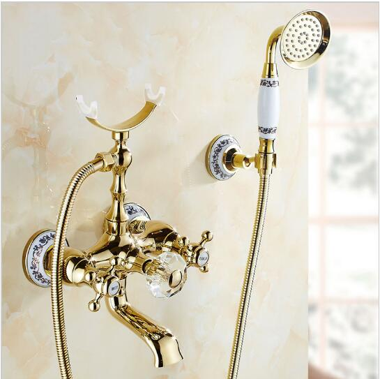 Luxury Gold Brass Bathroom Faucet Bathtub Faucet Mixer Tap Wall Mounted Hand Held Shower Head Kit Shower Faucet Sets luxury gold brass bathroom faucet bath faucet mixer tap wall mounted hand held shower head kit shower faucet sets sf1033